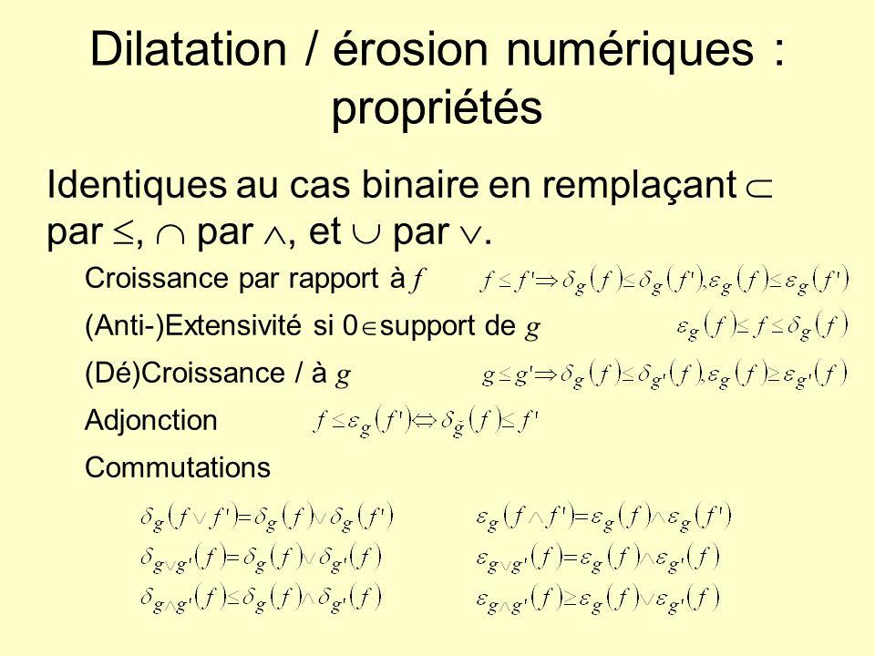 Dilatation / érosion numériques : propriétés