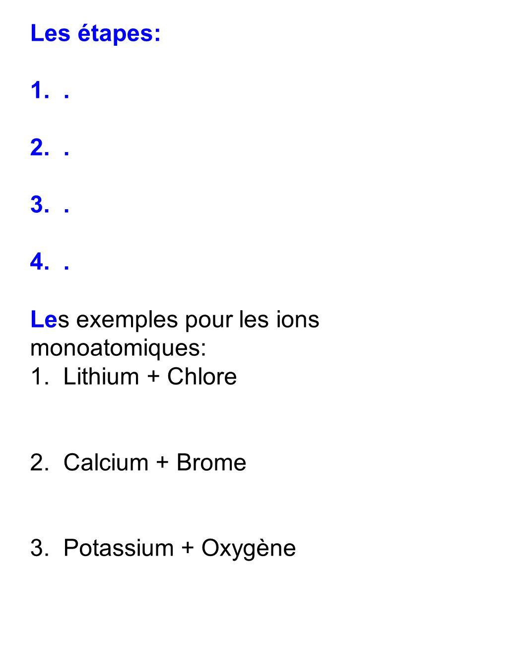 Les étapes: 1. . 2. . 3. . 4. . Les exemples pour les ions monoatomiques: 1. Lithium + Chlore.