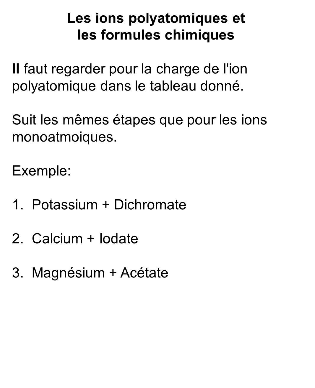 Les ions polyatomiques et les formules chimiques