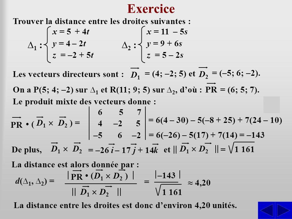 Exercice Trouver la distance entre les droites suivantes : ∆1 : x = 5 + 4t. y = 4 – 2t. z = –2 + 5t.