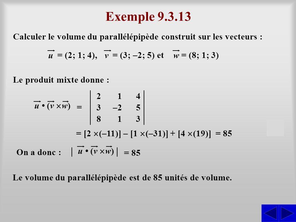 Exemple 9.3.13 Calculer le volume du parallélépipède construit sur les vecteurs : u. = (2; 1; 4),