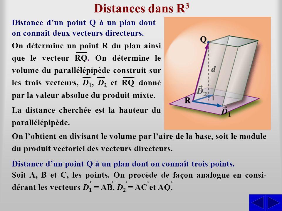 Distances dans R3 Distance d'un point Q à un plan dont on connaît deux vecteurs directeurs.