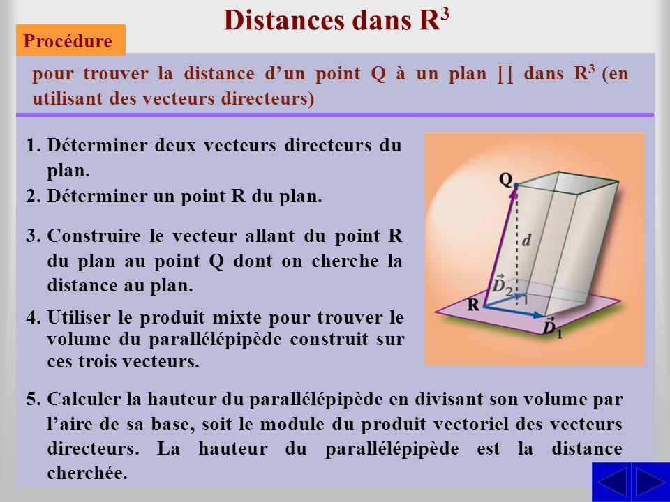 Distances dans R3 Procédure