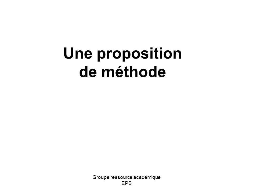 Une proposition de méthode