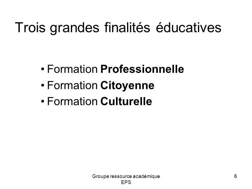Trois grandes finalités éducatives