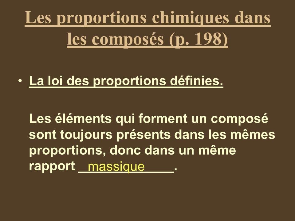 Les proportions chimiques dans les composés (p. 198)
