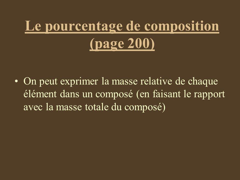 Le pourcentage de composition (page 200)