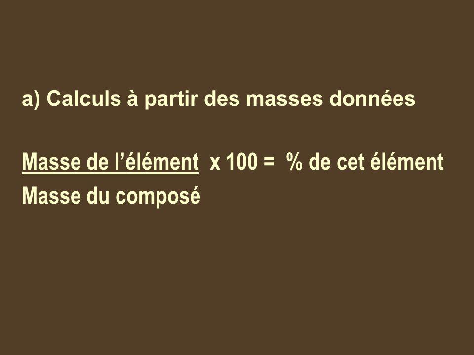 Masse de l'élément x 100 = % de cet élément Masse du composé