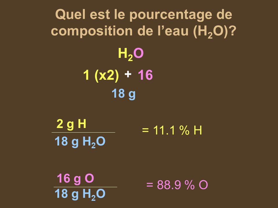 Quel est le pourcentage de composition de l'eau (H2O)