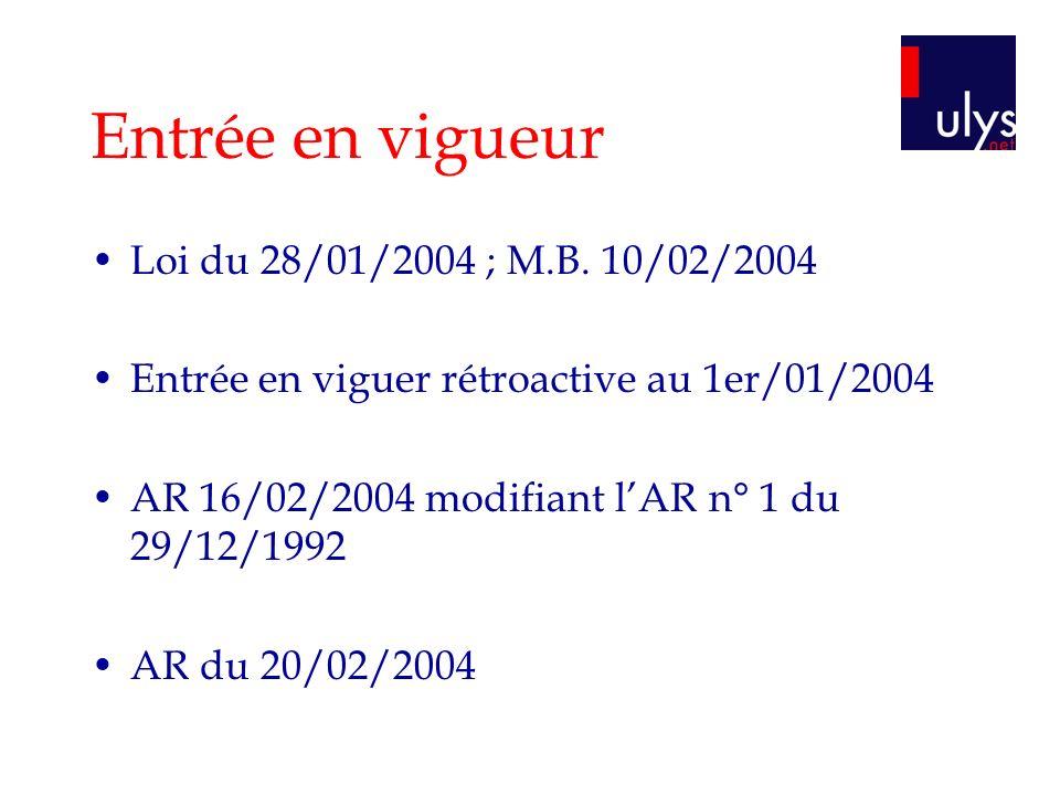 Entrée en vigueur Loi du 28/01/2004 ; M.B. 10/02/2004