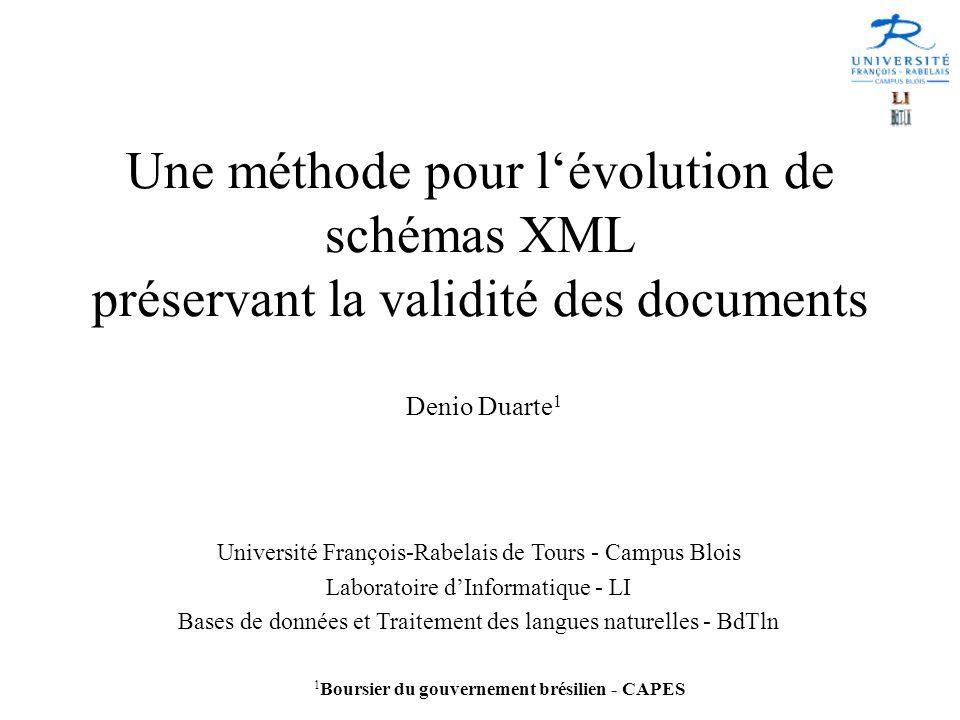 Une méthode pour l'évolution de schémas XML préservant la validité des documents