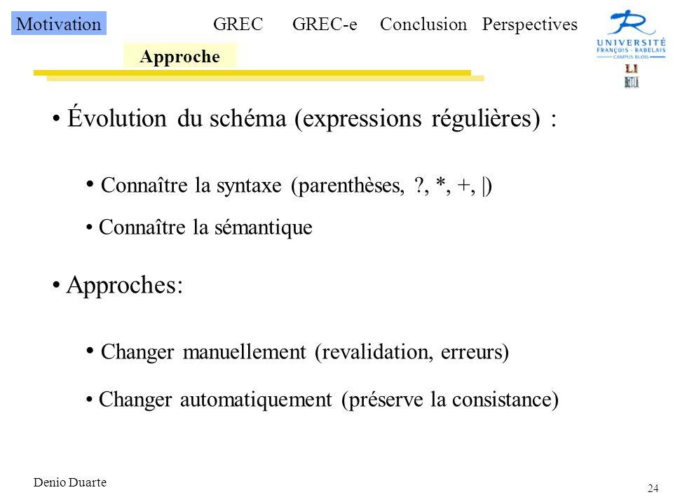 Évolution du schéma (expressions régulières) :