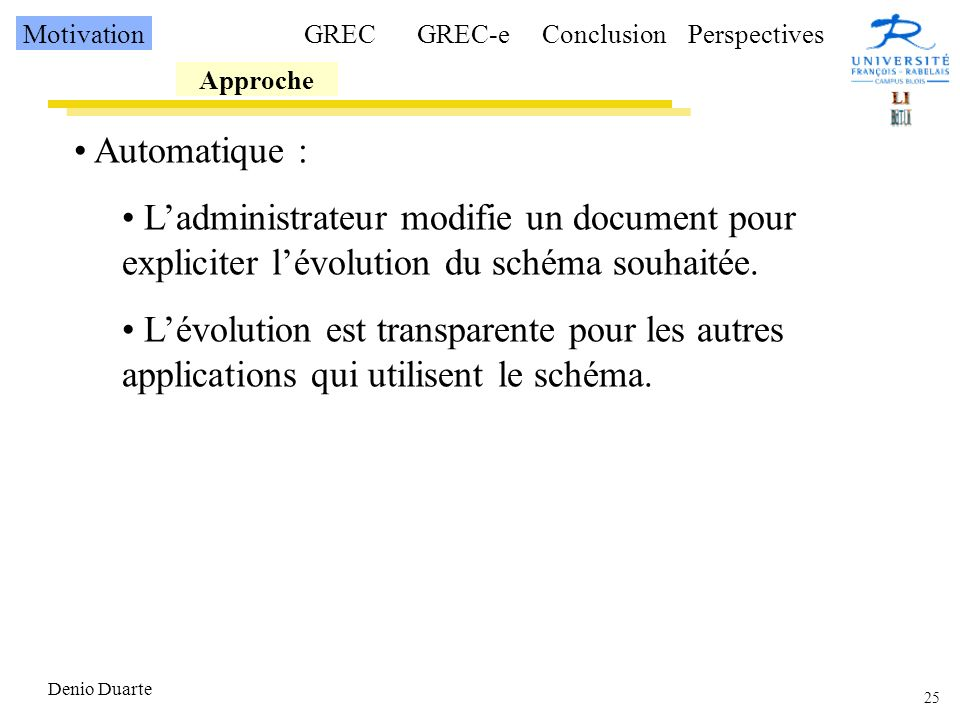 Motivation GREC. GREC-e. Conclusion. Perspectives. Approche. Automatique :