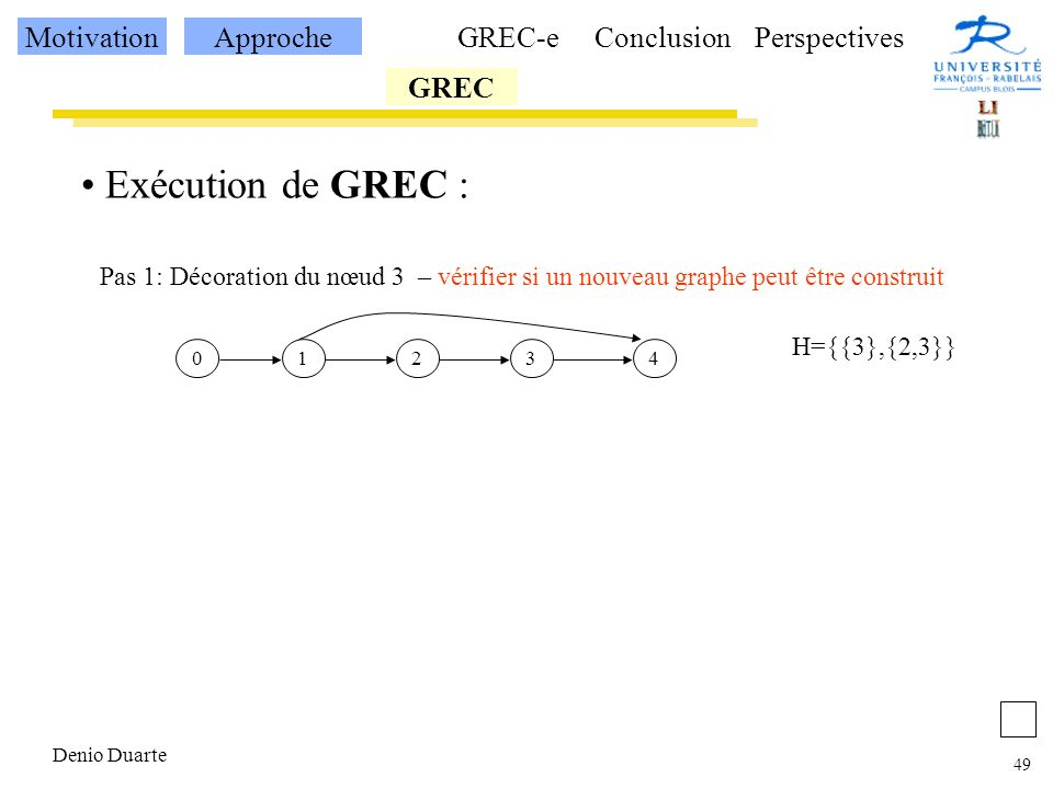 Exécution de GREC : Motivation Approche GREC-e Conclusion Perspectives