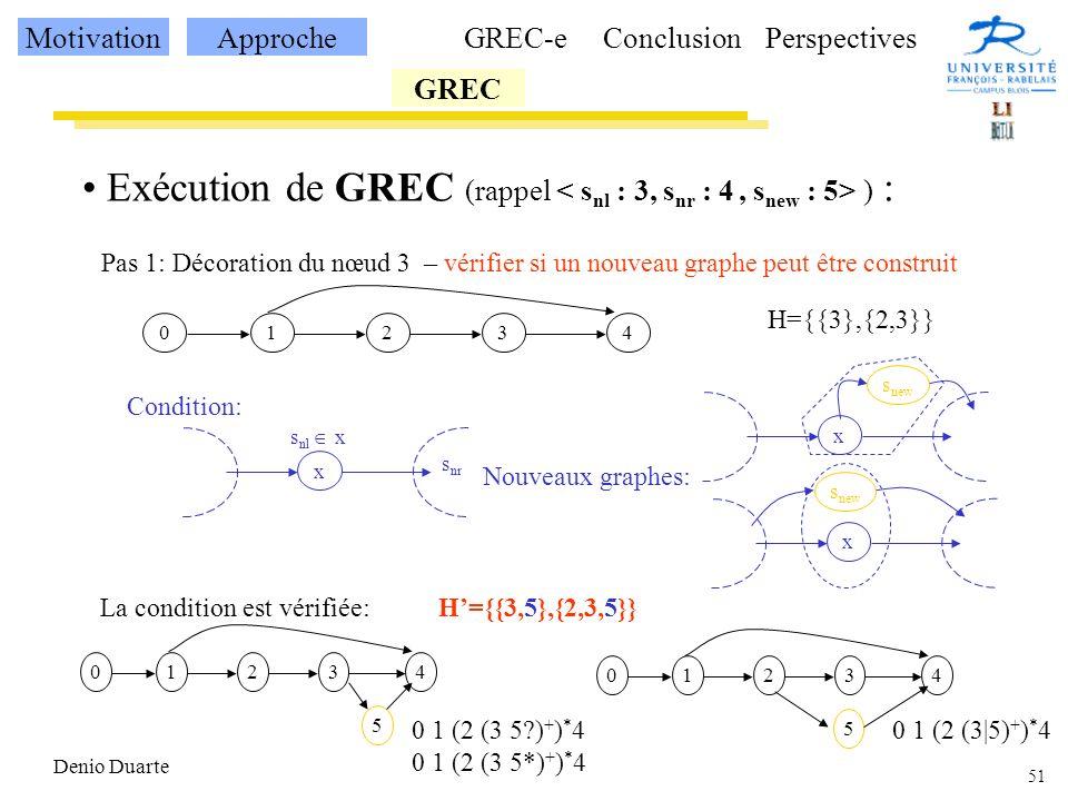 Exécution de GREC (rappel < snl : 3, snr : 4 , snew : 5> ) :