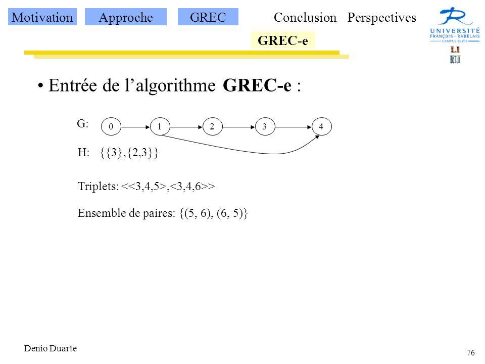 Entrée de l'algorithme GREC-e :