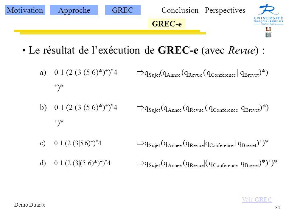 Le résultat de l'exécution de GREC-e (avec Revue) :