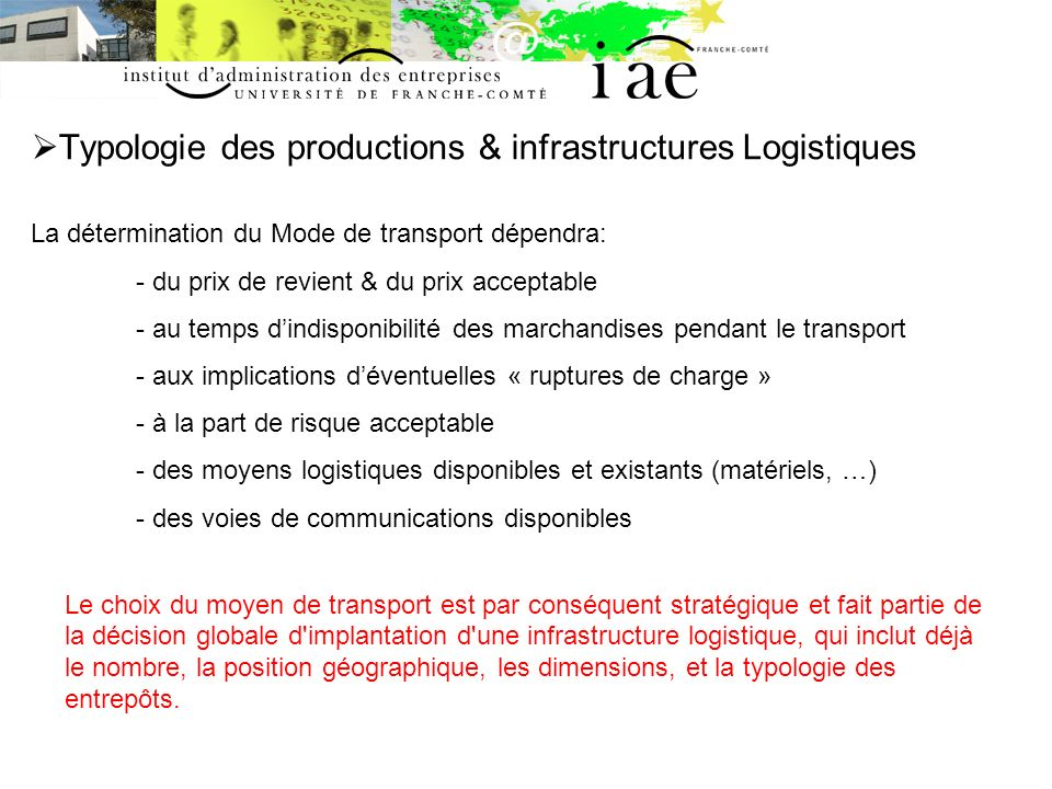 Typologie des productions & infrastructures Logistiques