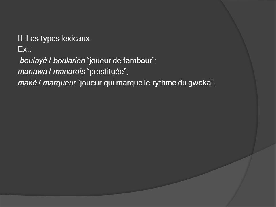 II. Les types lexicaux. Ex