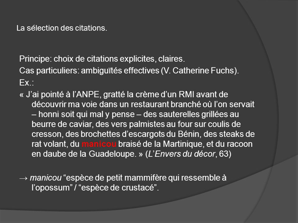 La sélection des citations.