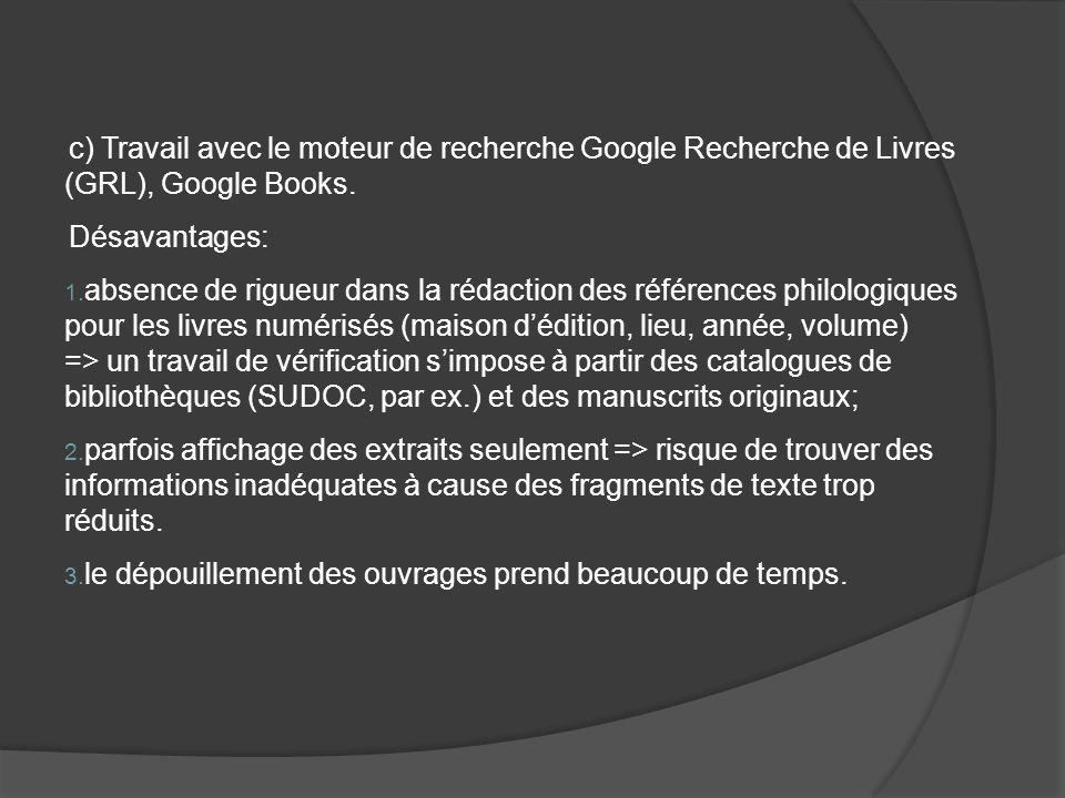 c) Travail avec le moteur de recherche Google Recherche de Livres (GRL), Google Books.