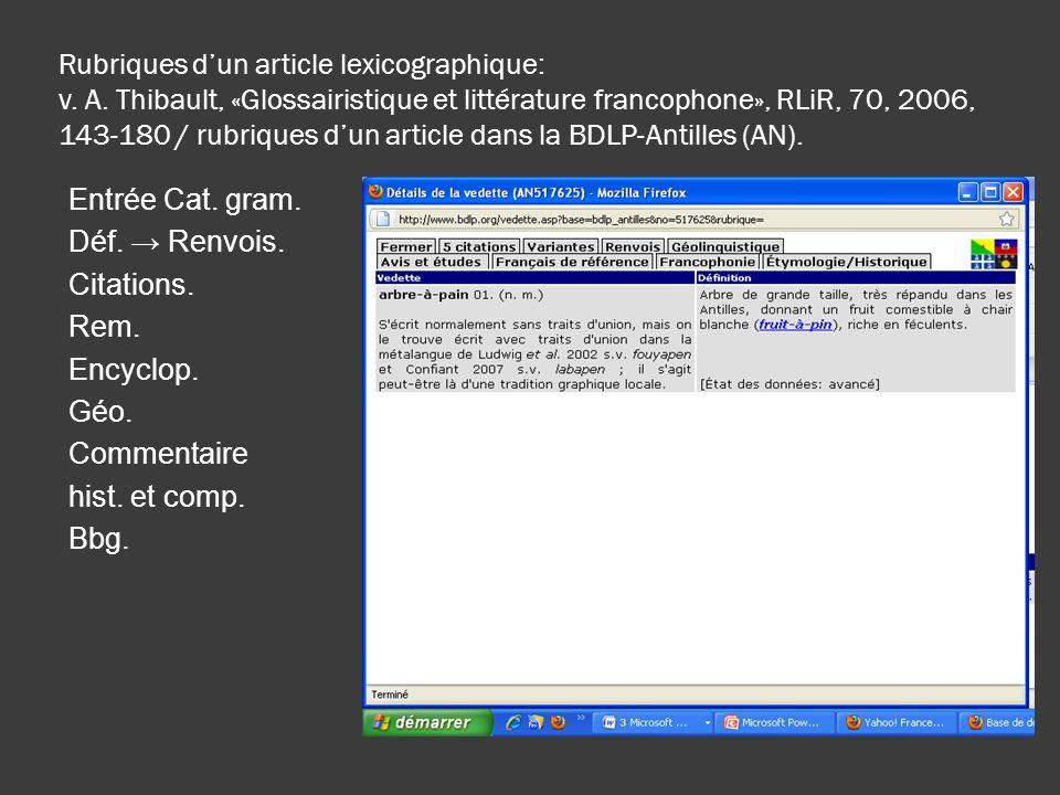 Rubriques d'un article lexicographique: v. A