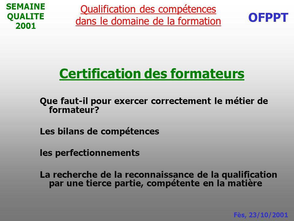 Certification des formateurs
