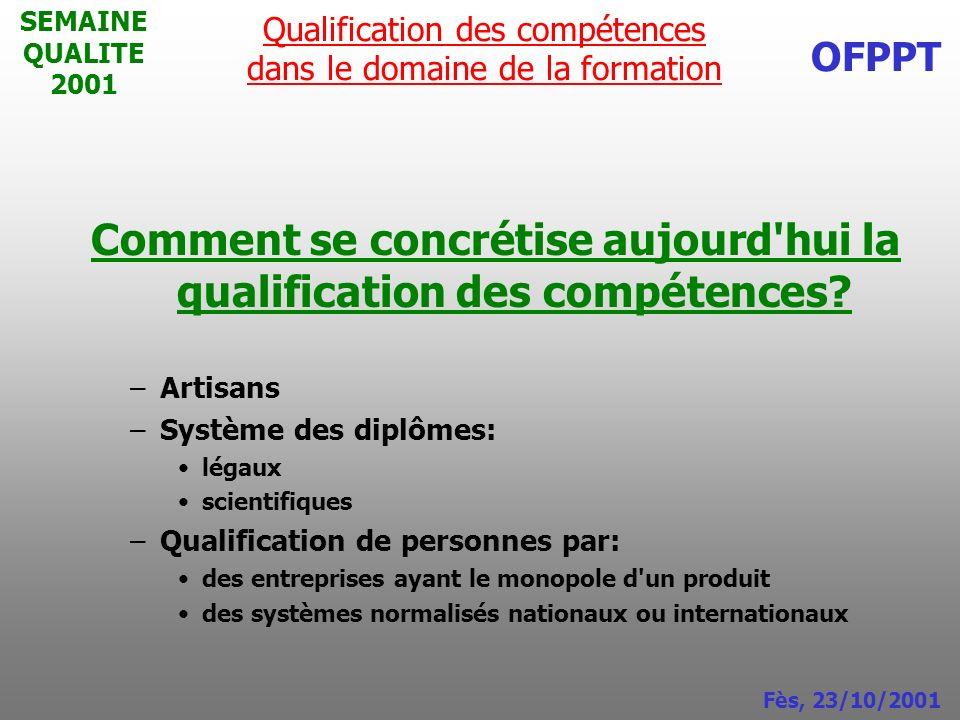 Comment se concrétise aujourd hui la qualification des compétences