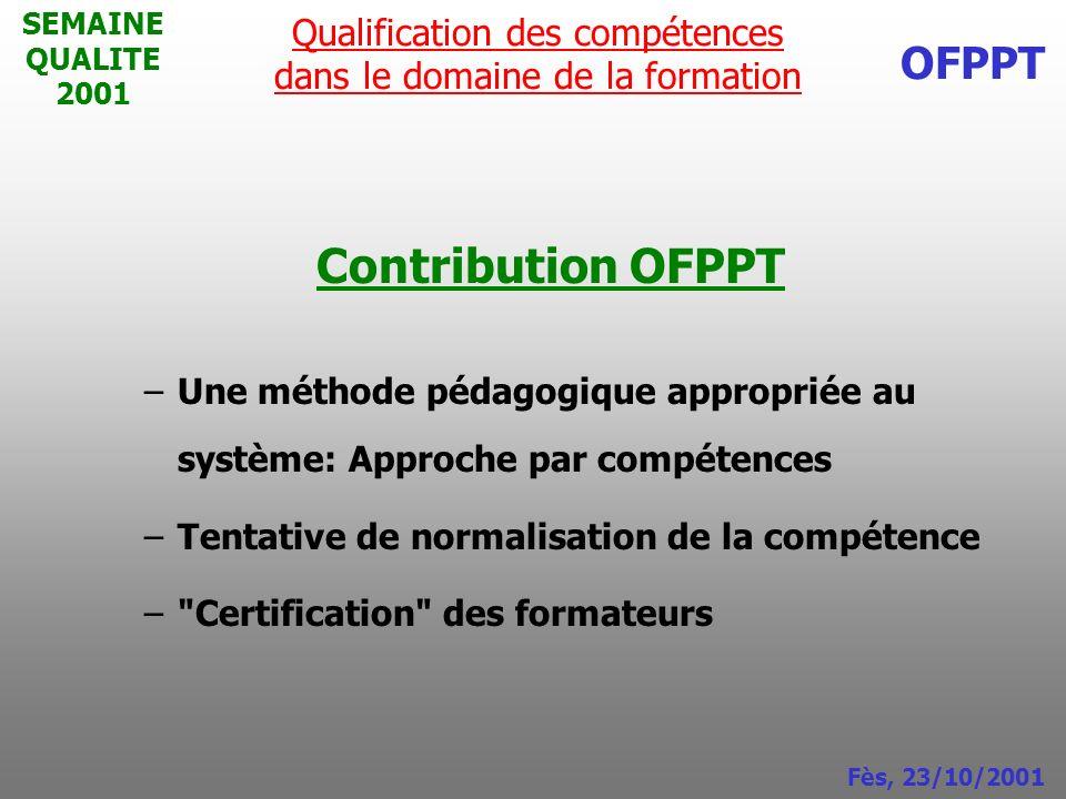 Qualification des compétences dans le domaine de la formation