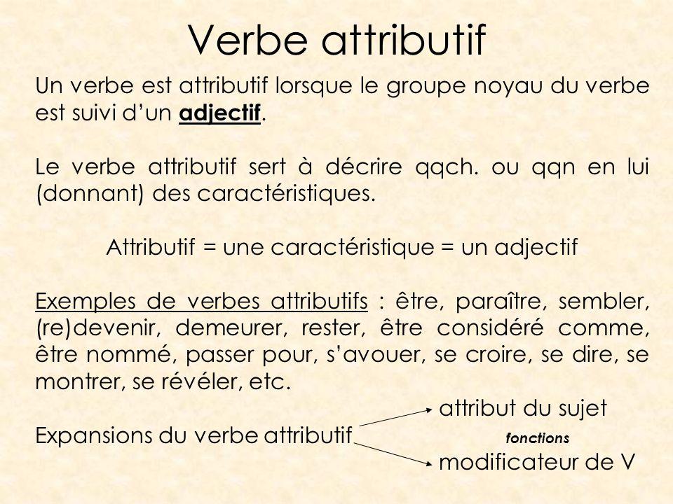 Attributif = une caractéristique = un adjectif