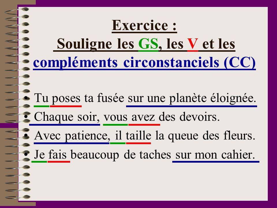 Exercice : Souligne les GS, les V et les compléments circonstanciels (CC)