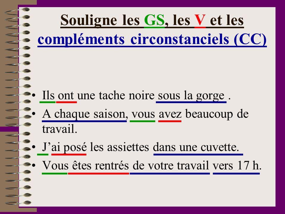 Souligne les GS, les V et les compléments circonstanciels (CC)