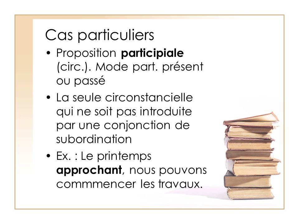 Cas particuliers Proposition participiale (circ.). Mode part. présent ou passé.