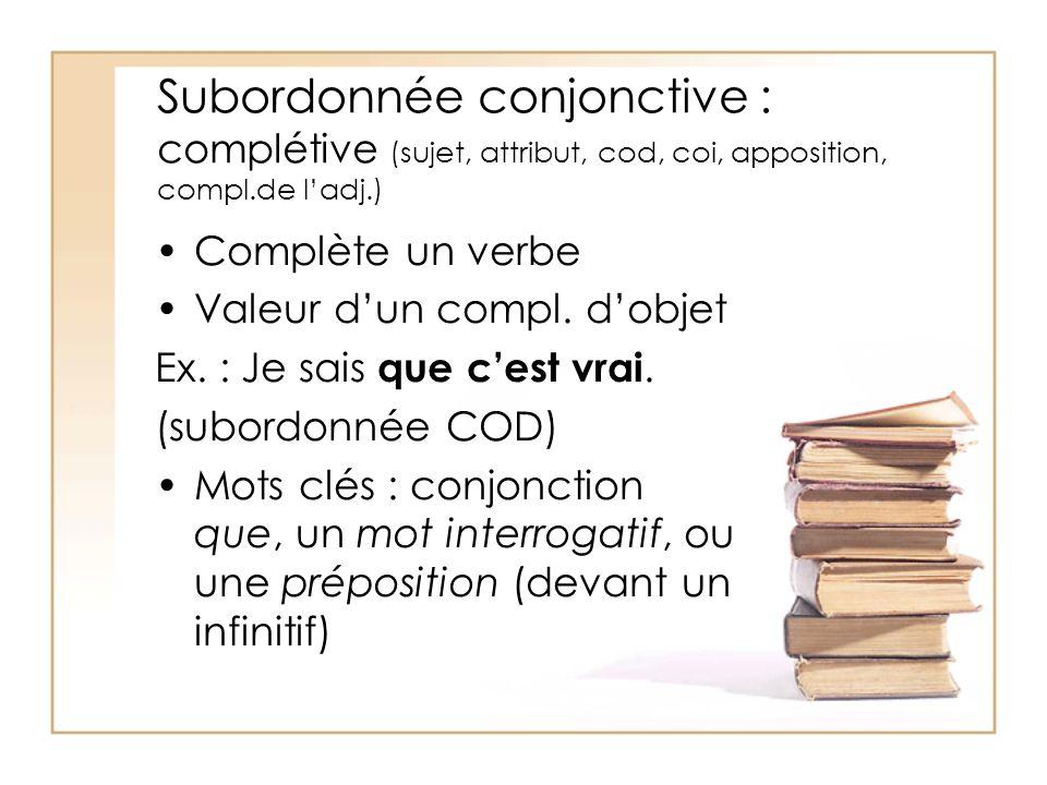 Subordonnée conjonctive : complétive (sujet, attribut, cod, coi, apposition, compl.de l'adj.)