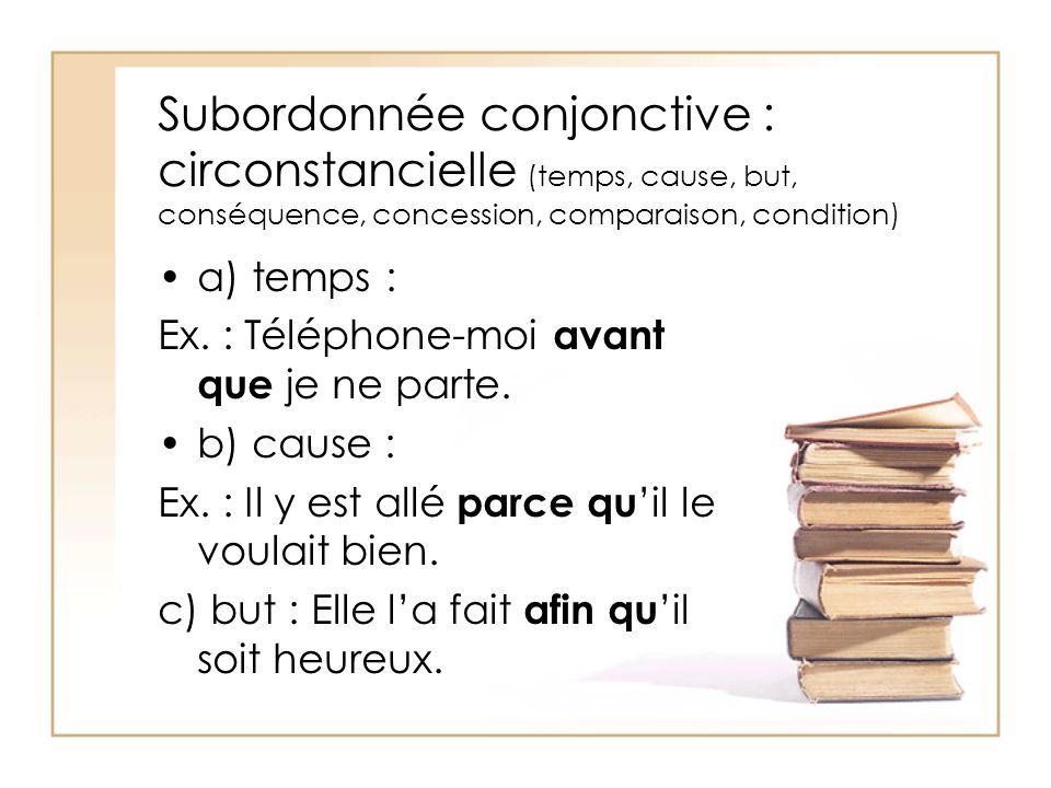 Subordonnée conjonctive : circonstancielle (temps, cause, but, conséquence, concession, comparaison, condition)