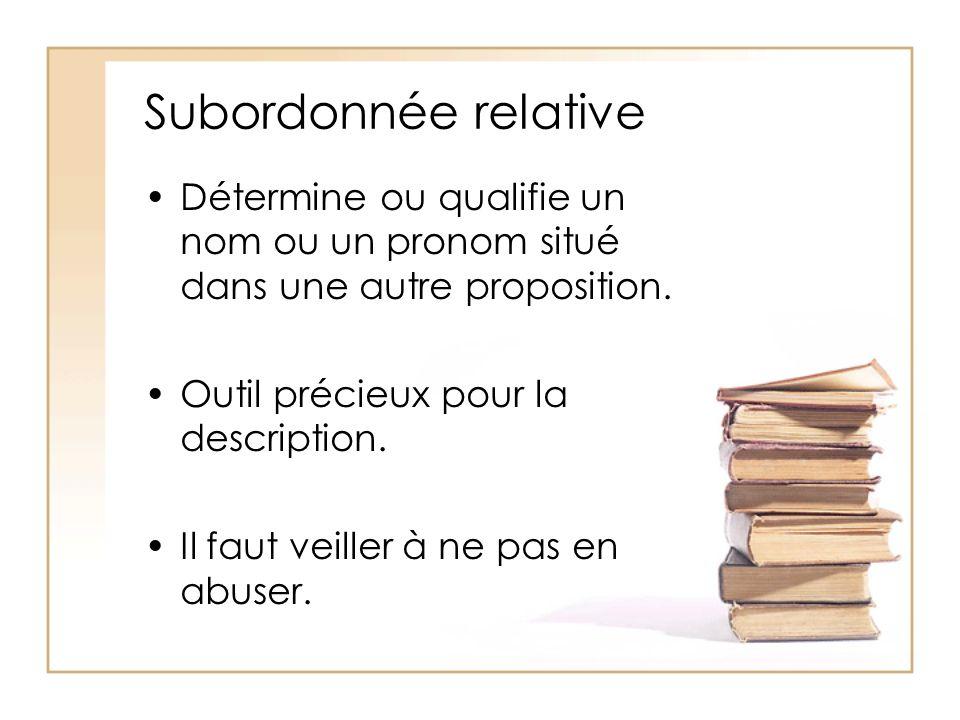 Subordonnée relative Détermine ou qualifie un nom ou un pronom situé dans une autre proposition. Outil précieux pour la description.