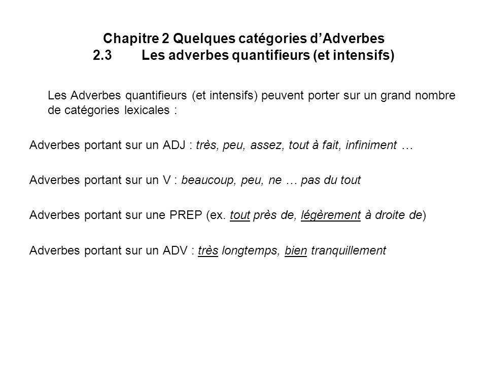 Chapitre 2 Quelques catégories d'Adverbes 2. 3