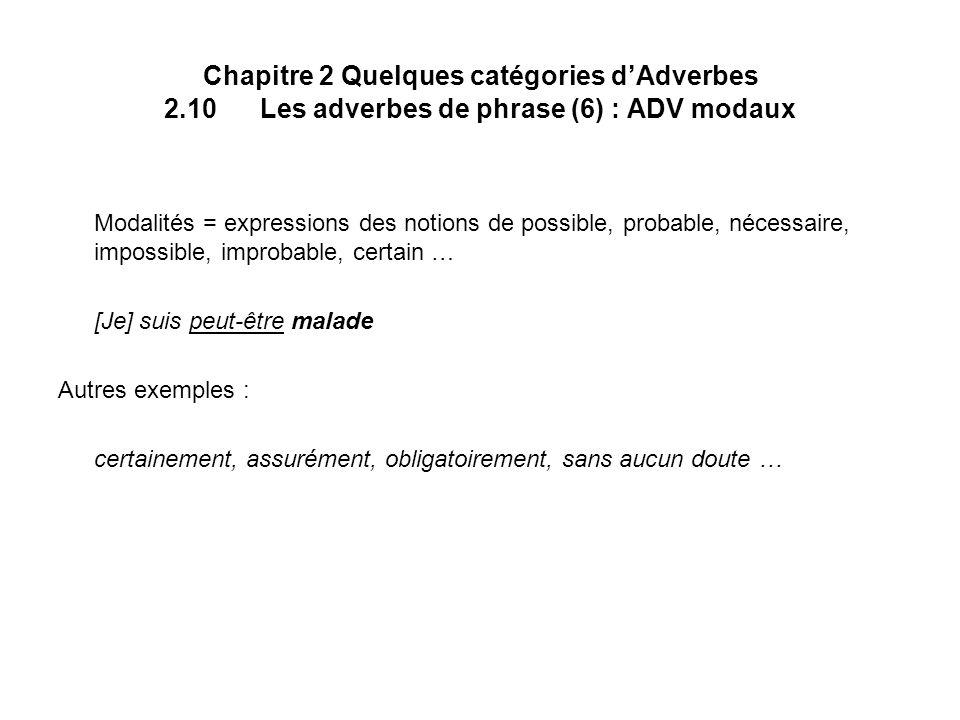 Chapitre 2 Quelques catégories d'Adverbes 2. 10