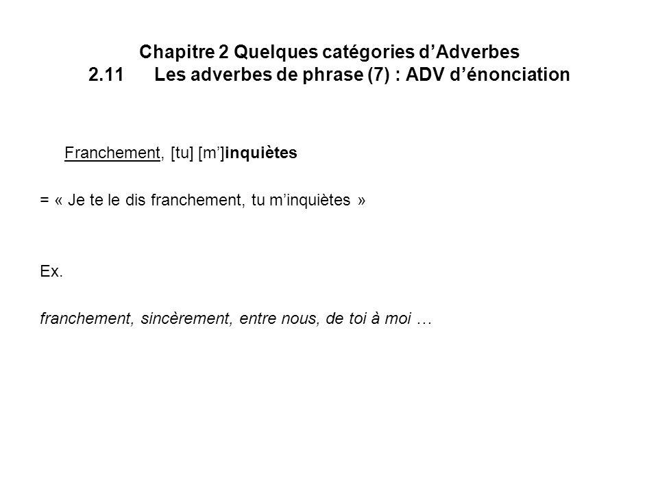 Chapitre 2 Quelques catégories d'Adverbes 2. 11