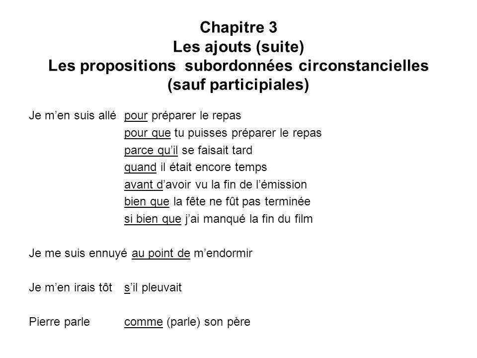 Chapitre 3 Les ajouts (suite) Les propositions subordonnées circonstancielles (sauf participiales)