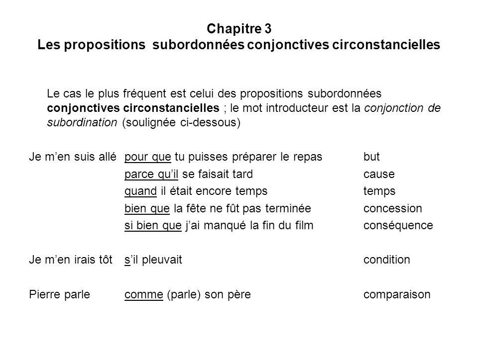 Chapitre 3 Les propositions subordonnées conjonctives circonstancielles