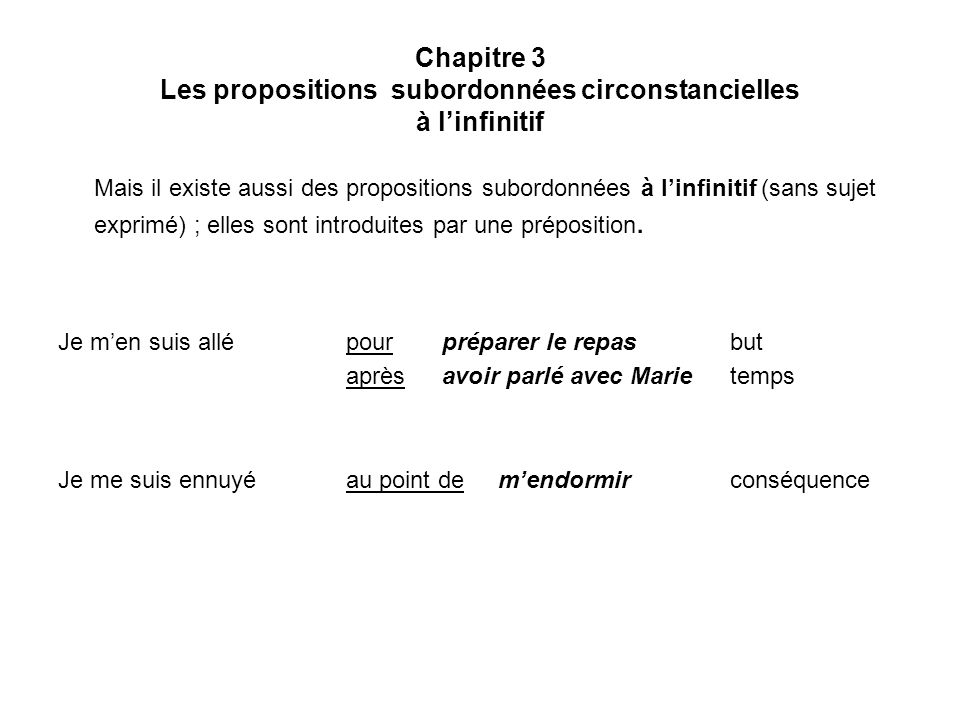 Chapitre 3 Les propositions subordonnées circonstancielles à l'infinitif