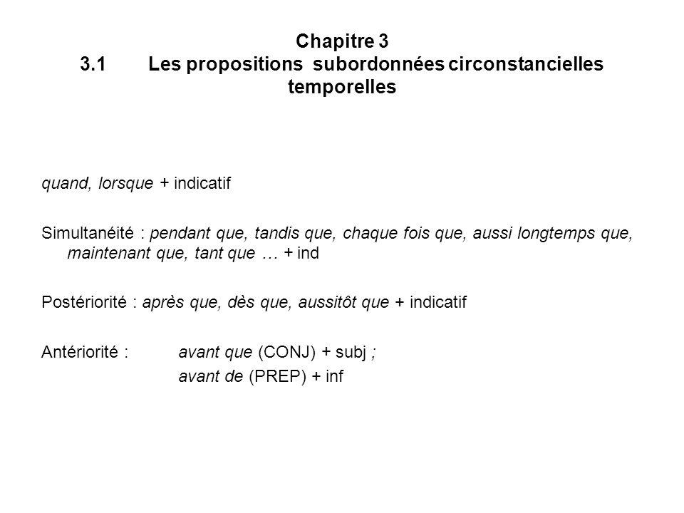 Chapitre 3 3.1 Les propositions subordonnées circonstancielles temporelles