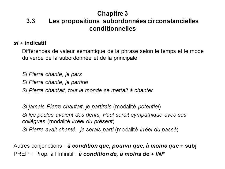 Chapitre 3 3.3 Les propositions subordonnées circonstancielles conditionnelles