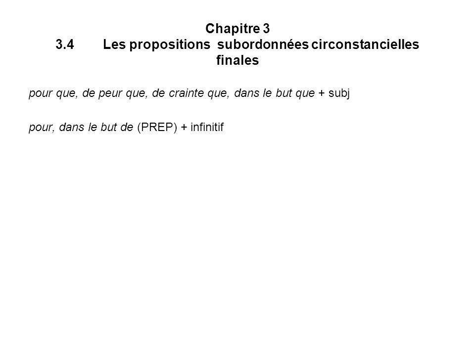 Chapitre 3 3.4 Les propositions subordonnées circonstancielles finales
