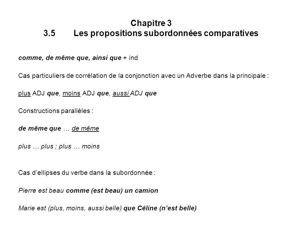 Chapitre 3 3.5 Les propositions subordonnées comparatives