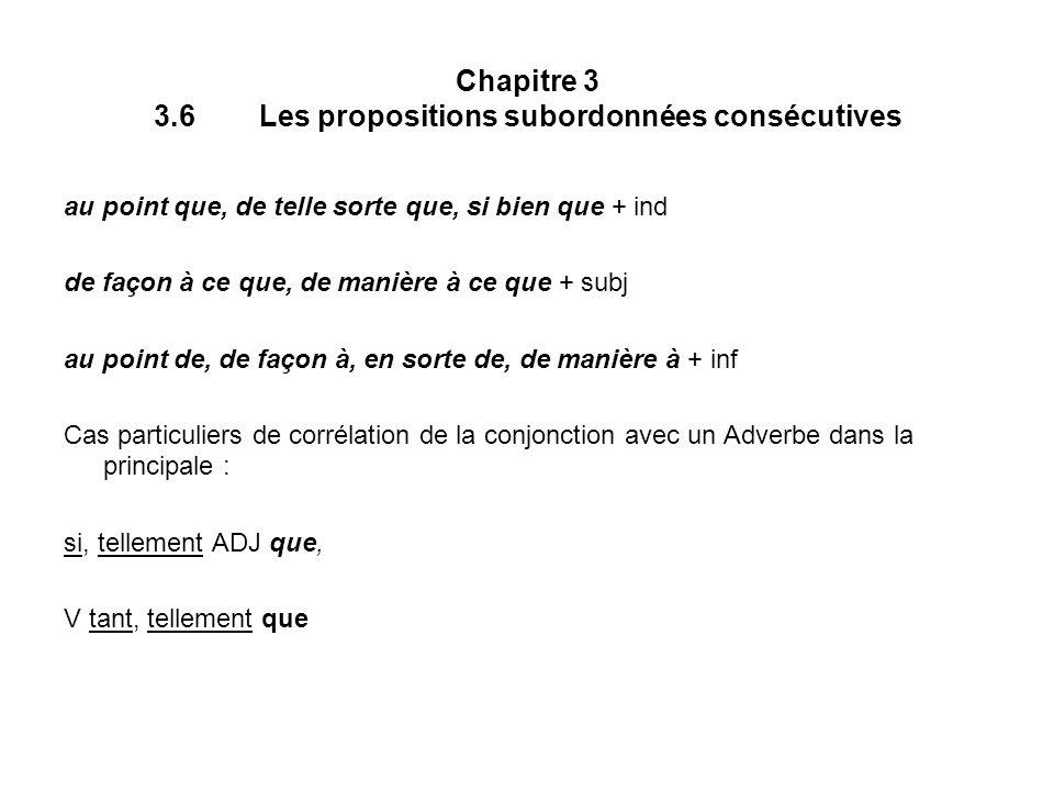 Chapitre 3 3.6 Les propositions subordonnées consécutives
