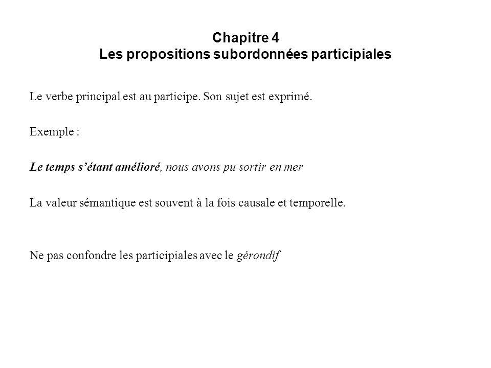 Chapitre 4 Les propositions subordonnées participiales