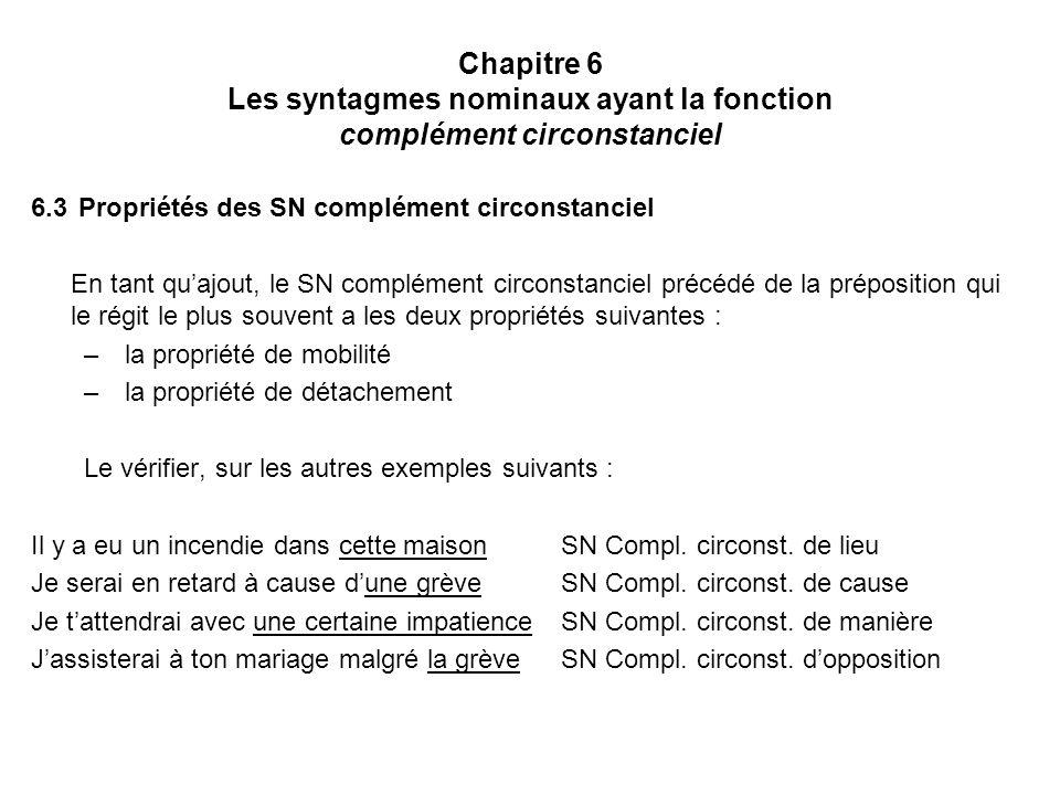 Chapitre 6 Les syntagmes nominaux ayant la fonction complément circonstanciel