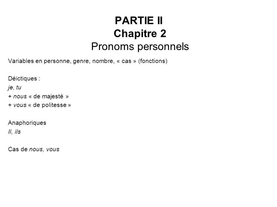 PARTIE II Chapitre 2 Pronoms personnels